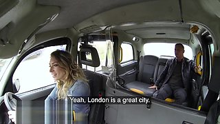 Female Fake Taxi French guy gives throat fucking and hard sex to horny Brit