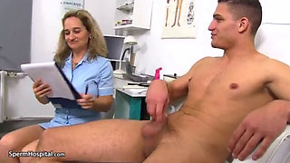 Busty Nurse Jerks And Sucking Cock