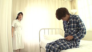 Lovely nurse Wakaba Onoue gets to jump on a long fat dick