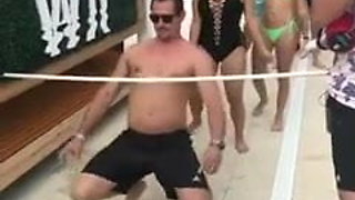 ENF: Pussy exposed while limbo dancing