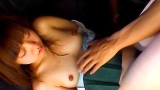Asian slave cunt finger fucked upskirt