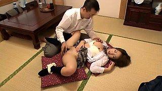 Lovely Oriental schoolgirls indulge in hardcore sex action