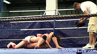 Wrestling babes love strapon lesbiansex