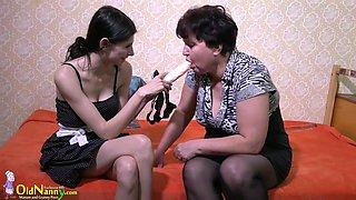 Old mature lady enjoying lesbian strapon