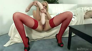 This young blonde insert gigantic toys into her wet pussy