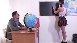 horny teacher fucking brunette teen