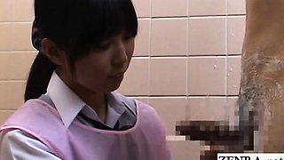 Subtitled CFNM Japanese embarrassed bathing ejaculation