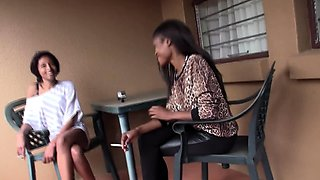 Lesbian African Wife Cheating with Babysitter at home