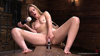 Mona Wales destroys her pussy with two big sex toys for the best cum ever