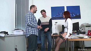 Slutty redhead secretary Natalie Hot in a hot threesome