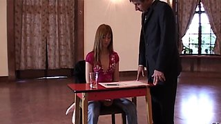 Teen Job interview turns in intimate inspection by boss