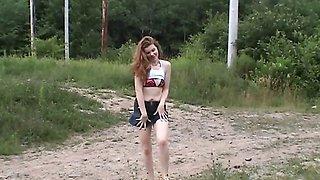 Outdoor flashing wifey in skirt striptease amateur fun