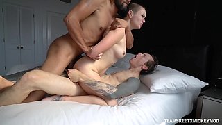 Beautiful skinhead Paris Lincoln gets double penetrated for the first time