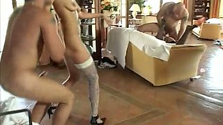 Before being analfucked brutally lewd brunette and blonde give blowjobs