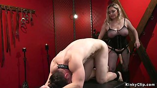 Busty mistress anal bangs male
