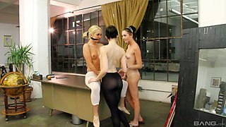 Ashley Stone and Aaliyah Love join a brunette for a lesbian fuck