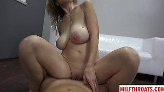 Big tits milf casting and cum on tits