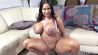 Ava Devine is very cock-hungry so she exploits her dildo