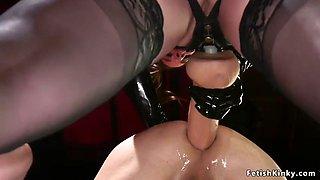 Mistress shoves huge strap on in guys ass