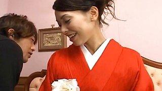 Gorgeous Eriaa Himesaki takes out her red kimono for a hardcore fuck