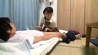 Amateur Japanese AV Model in school uniform gives a blowjob