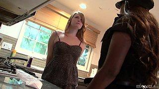 Interracial lesbian sex between Ariel Stoman and Camille Morgan