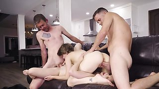 Skinnies have been waiting for stepfathers to have a foursome