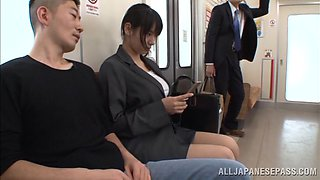 Hana Haruna the office chick gets banged in a subway train