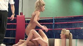 Oiledup lesbian babes wrestling