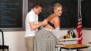 Mature teacher in stockings seduced young student sex in the office...