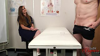 Nurse Honour May enjoys watching her patient stroking his dick