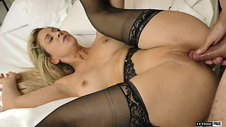 Seductive paramour in stockings Cherie Deville takes a dick in her whorish muff