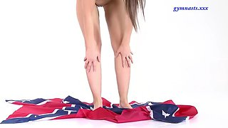 nina kurganova shows her pussy with confederate flag in her hands