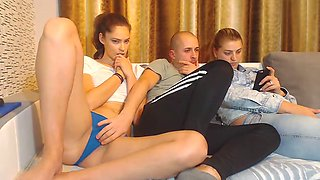 Hot brunette in panties teasing sisters bf on couch