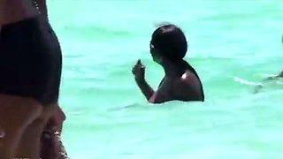 Candid Huge Black Bikini Beach Cleavage