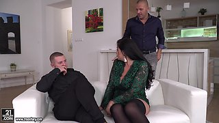 Gorgeous Anissa Jolie seduced by two men for a sex session