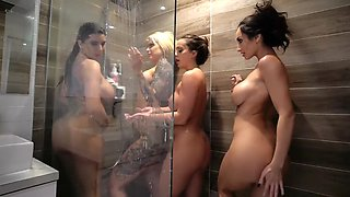 an all girls getting wet shower foursome