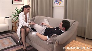 Naughty whorable leg doctor has a fetish to suck two dicks at once (FMM)