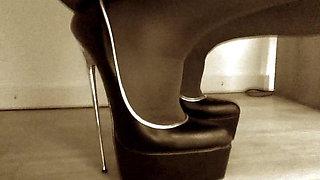 Crossdresser nylon encased with ultra high Heels
