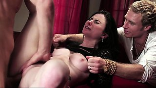 Petite milf sucks big cock and fucked by friend ifo husband