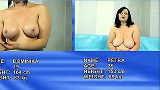 Fat brunettes wrestling for cock