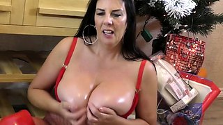 British housewife Lulu takes out her christmas balls