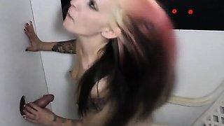 Very Hot Emo Amateur Giving Stranger Head Through Glory Hole
