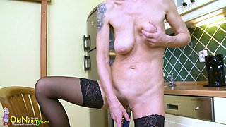 Awful grey haired oldie Iva goes solo and masturbates in the kitchen