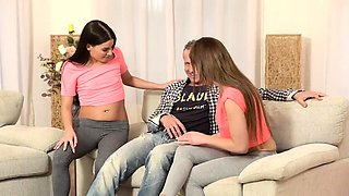 DADDY4K. Comely sisters embark group sex with their...