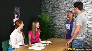 Glamorous cfnm femdoms tugging sub in group