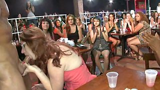 Group of wild and sexy women are getting fucked by a horny stripper