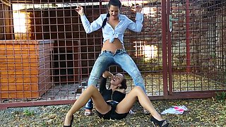 Lesbian Brunette Fucked And Pissed On By Thief