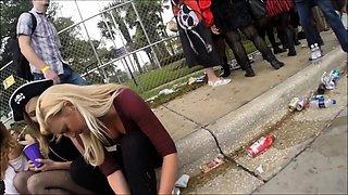 Street voyeur finds a lovely blonde teen with a perfect ass