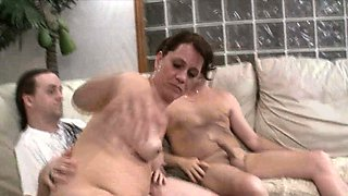 Nasty Slut Wife Threesome Swallow Fuck Party For Hubby